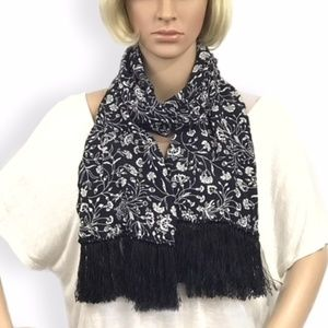 Accessories - Black and White Floral Print Scarf with Fringe!